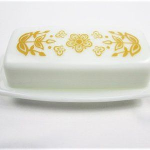 Gold and White Milk Glass Butter Dish By Pyrex